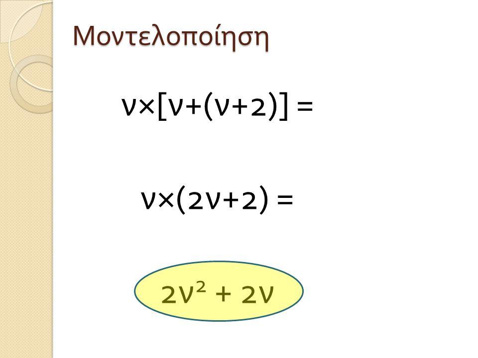 Μοντελοποίηση ν×[ν+(ν+2)] = ν×(2ν+2) = 2ν2 + 2ν